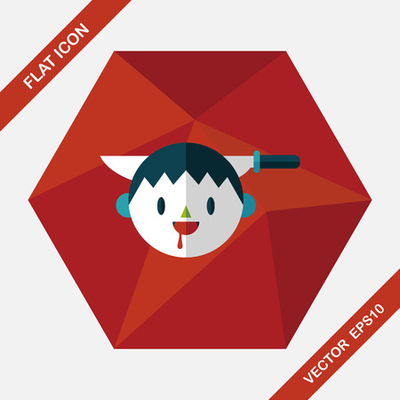 cartoon vampire: Halloween boy flat icon with long shadow,eps10