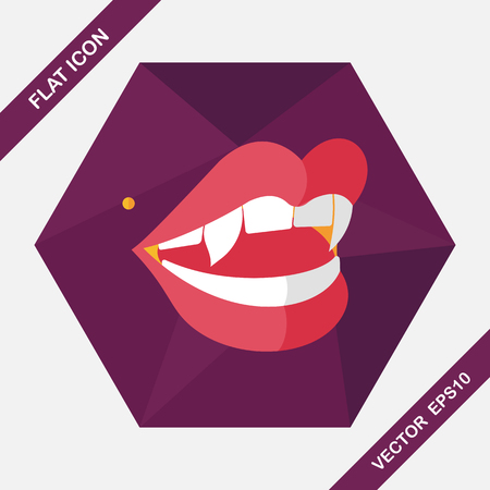 cartoon vampire: Halloween fangs flat icon with long shadow,eps10