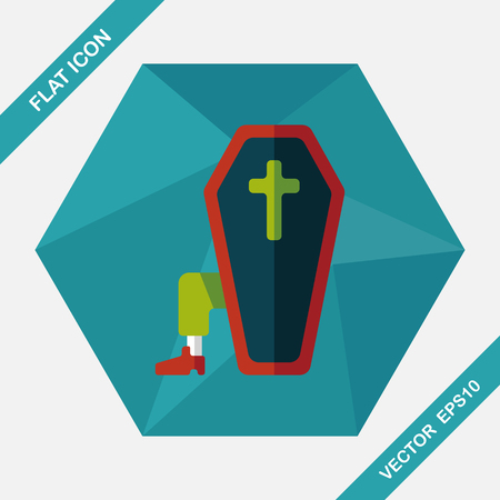 decomposition: coffin falt icon with long shadow,eps10