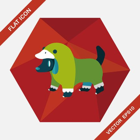puppy: Pet Clothes flat icon with long shadow, eps10