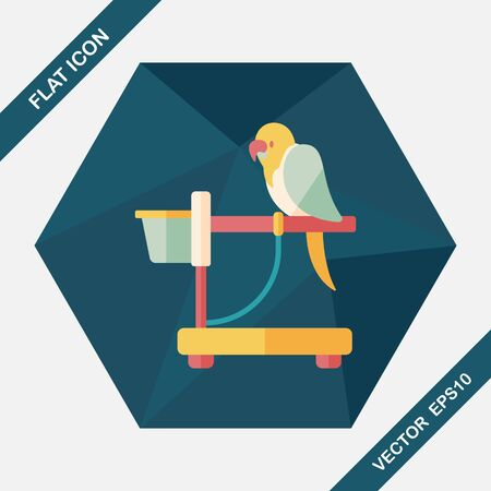 macaw parrot: Pet parrot flat icon with long shadow, eps10 Illustration