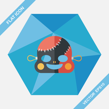 scar: halloween zombie flat icon with long shadow,eps10 Illustration