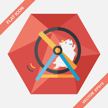 roll out: Pet mouse exercise wheel flat icon with long shadow,eps10