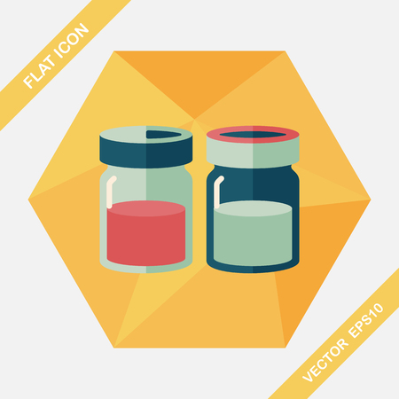 condiments: kitchenware sauce bottle flat icon with long shadow,eps10