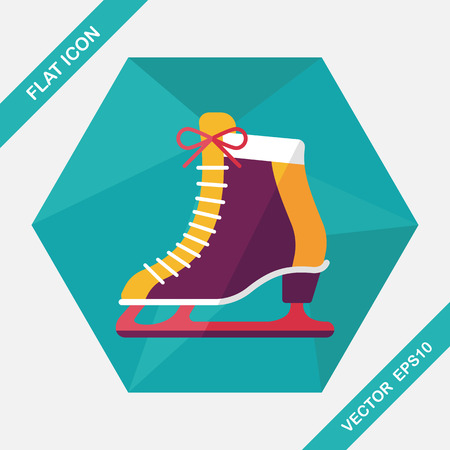 ice skates: ice skate flat icon with long shadow,eps10