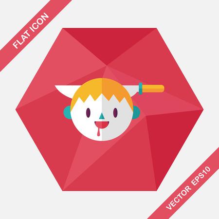 czarownica: Halloween boy flat icon with long shadow,eps10