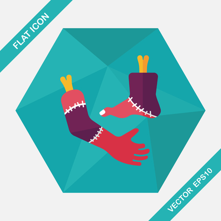 severed: Halloween hand and leg flat icon with long shadow,eps10 Illustration