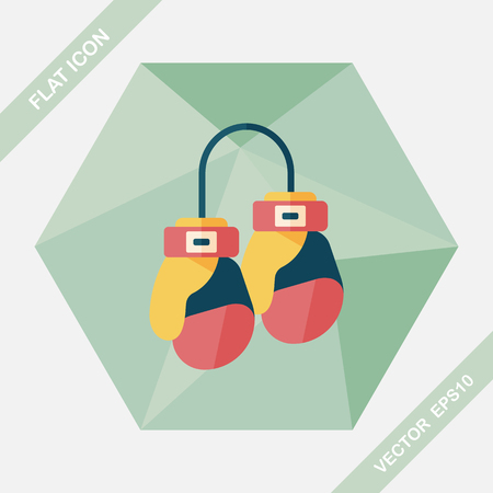 defending: boxing gloves flat icon with long shadow,eps10