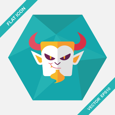 grotesque: Vampire flat icon with long shadow, eps10