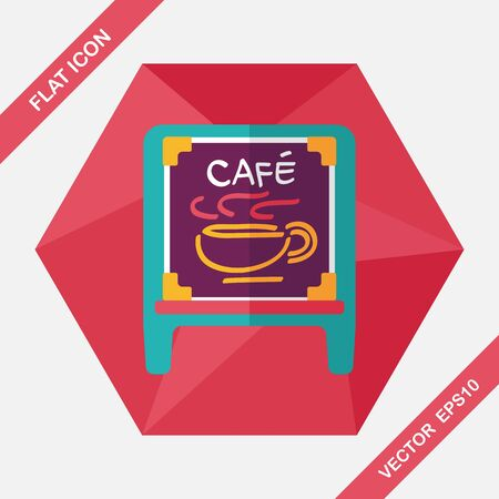 shop sign: Coffee shop signs flat icon with long shadow,eps10