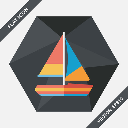 Transportation sailboat flat icon with long shadow,eps10