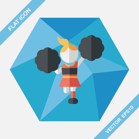 exciting: cheerleader flat icon with long shadow,eps10 Illustration