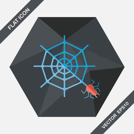 halloween spider: Halloween Spider flat icon with long shadow,eps10
