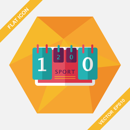 time remaining: scoreboard flat icon with long shadow,eps10