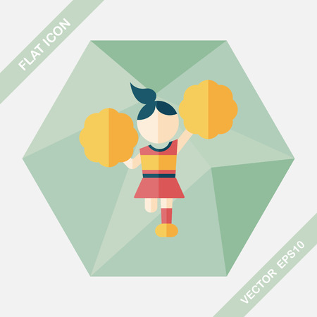 positive energy: cheerleader flat icon with long shadow,eps10 Illustration