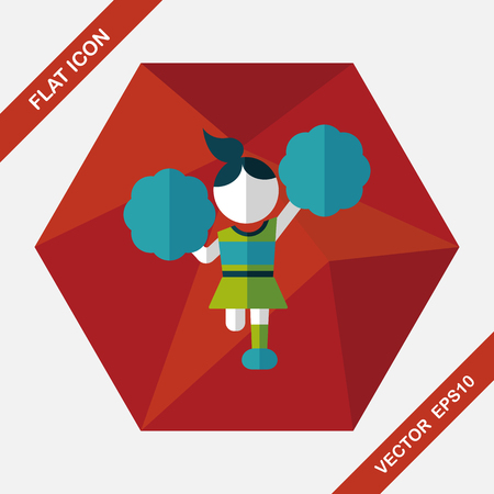 enthusiasm: cheerleader flat icon with long shadow,eps10 Illustration