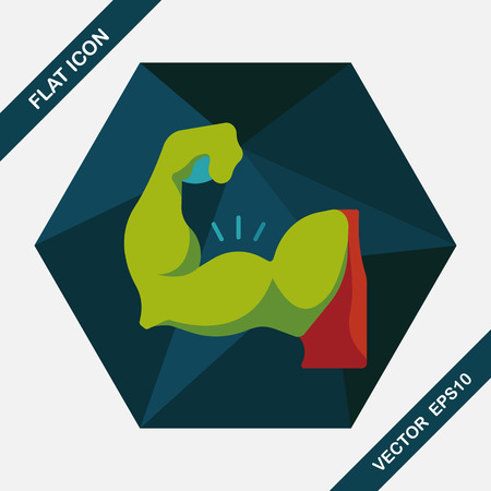 muscle gain: muscle man flat icon with long shadow,eps10 Illustration