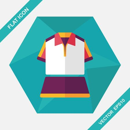 tennis skirt: sport outfit flat icon with long shadow,eps10 Illustration