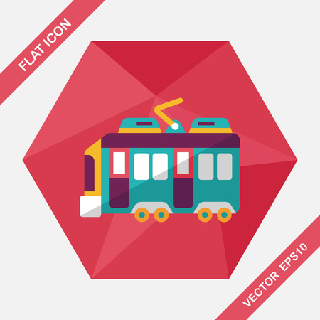 roadway: Transportation train flat icon with long shadow,eps10