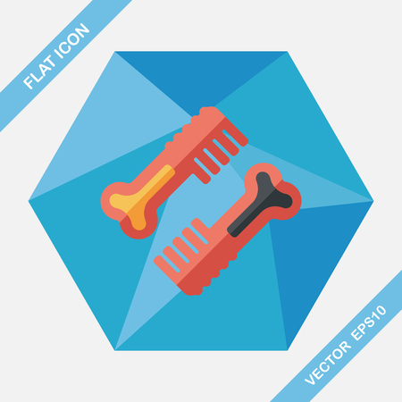 puppy: Pet dog brush flat icon with long shadow,eps10