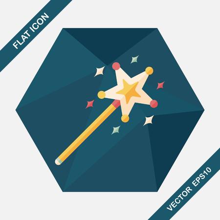magic wand: magic wand flat icon with long shadow,eps10