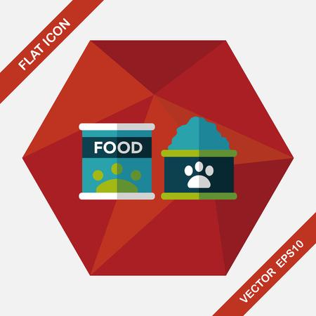 animal feed: Pet dog food flat icon with long shadow,eps10