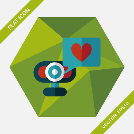 making face: Valentines Day webcam love message flat icon with long shadow Illustration
