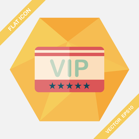 shopping vip card flat icon with long shadow