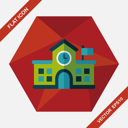 college building: Building school flat icon with long shadow,eps10