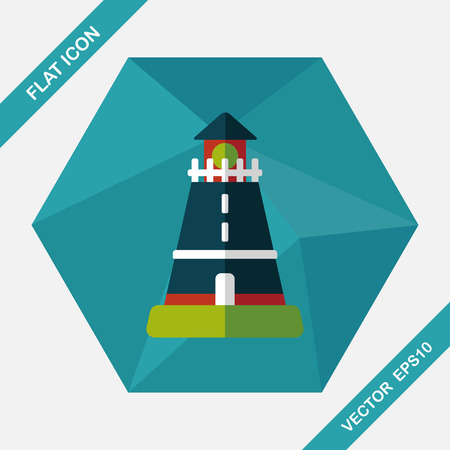 sailing: lighthouse flat icon with long shadow,eps10