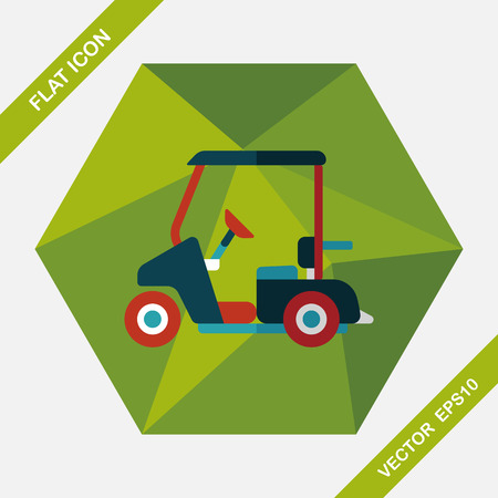 car tire: Transportation Golf Cart flat icon with long shadow,eps10
