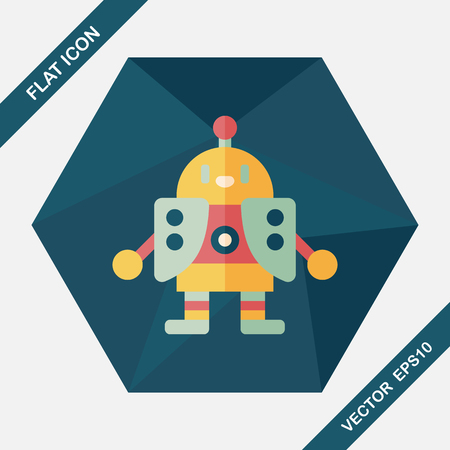 robot toy: robot flat icon with long shadow,eps10