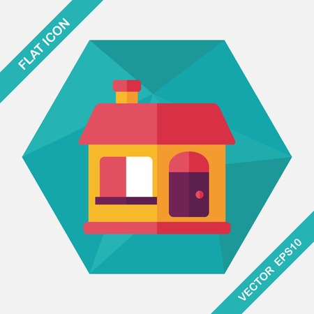 residential structure: Building house flat icon with long shadow,eps10
