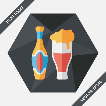 alimentos y bebidas: icono plana vino con una larga sombra, eps10