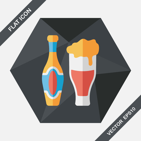 food and drinks: wine flat icon with long shadow,eps10