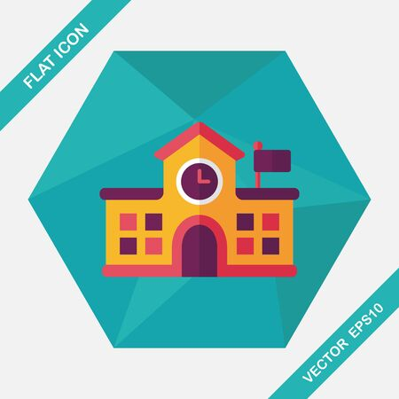 city building: Building school flat icon with long shadow,eps10