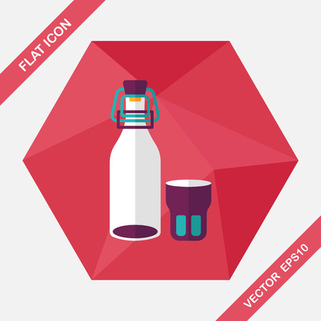 canned drink: kitchenware preserving drink flat icon with long shadow,eps10