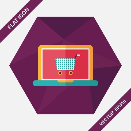online shopping cart: online shopping flat icon with long shadow,eps10