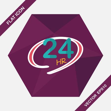 24 uur winkel geopend vlakke icoon met lange schaduw, eps10