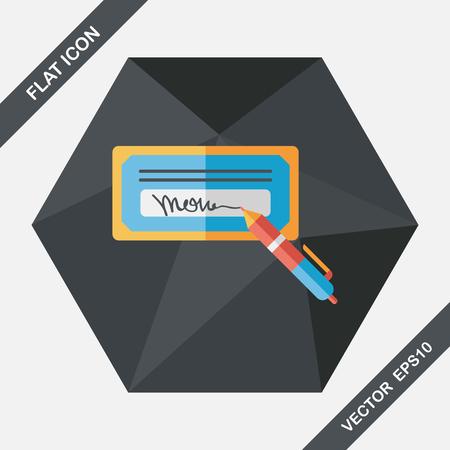 chequera: cheque factura icono plana con una larga sombra, eps10 Vectores