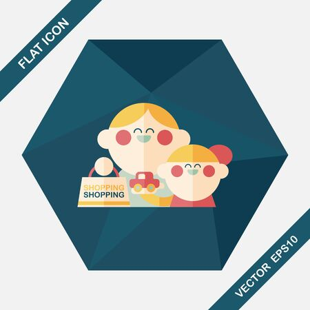 mom daughter: Parents and child shopping flat icon with long shadow,eps10