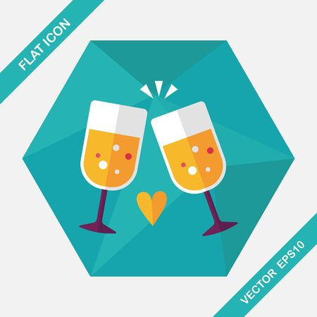 wine glasses: Valentines day champagne flat icon with long shadow,eps10