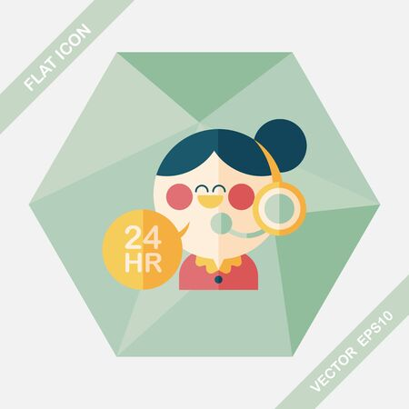 helpline: 24 hours customer phone service flat icon with long shadow,eps10 Illustration