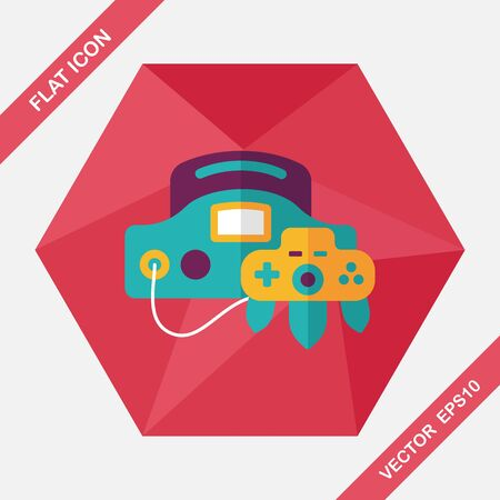 handheld: Handheld game consoles flat icon with long shadow,eps10