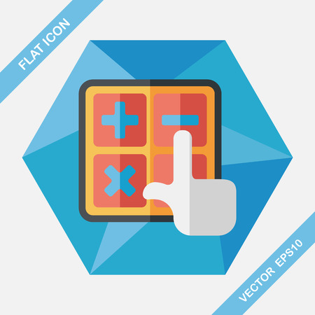 calculator: shopping calculator flat icon with long shadow,eps10