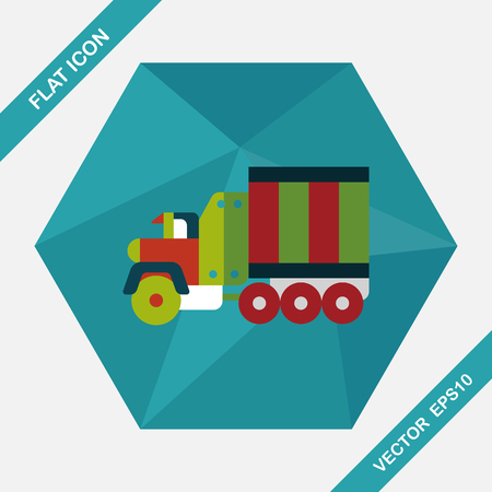 transporter: Transportation Tow Truck flat icon with long shadow,eps10 Illustration