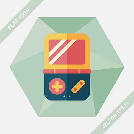 handheld computer: Handheld game consoles flat icon with long shadow,eps10