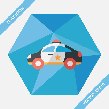 police icon: Transportation police car flat icon with long shadow,eps10 Illustration
