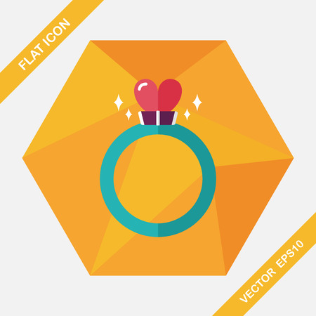 valentin's: Valentines Day heart diamond ring flat icon with long shadow,eps10 Illustration