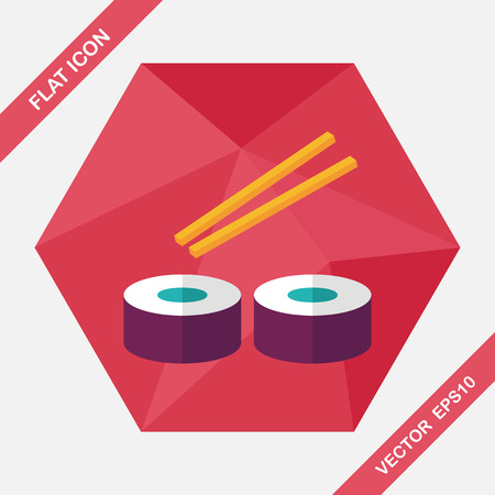 sushi menu: sushi flat icon with long shadow,eps10 Illustration